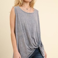 Blue Mineral Washed Twisted Knot Tunic