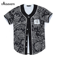 Floral Print Baseball Tee Shirts Short Sleeve T-shirt