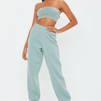 Missguided - Green 80s Brush Back Joggers