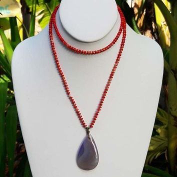 Red Coral Necklace & Onyx Pendant