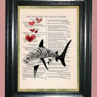 Tiger Shark with Red Hearts Quotation Dictionary Book Page Art Print Beautiful Upcycled Page Art Home Decor Shark Print