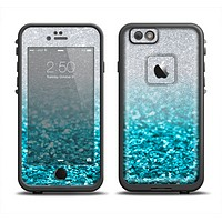 The Turquoise & Silver Glimmer Fade Apple iPhone 6 LifeProof Fre Case Skin Set