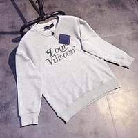 Louis Vuitton LV men and women round neck pullover couple loose print sweater
