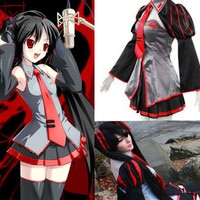 Vocaloid Zatsune Miku Red and Black Dress Custom Cosplay Costume Outfit