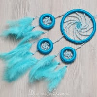 Blue Dream Catcher Dreamcatcher with Amazonite gemstone beads, Light Blue  Dreamcatcher, Nursery Decor