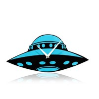 YCC Space Exploration UFO Wall Clock Color Blue