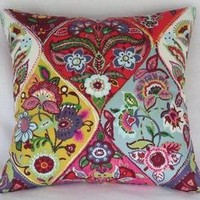 Colorful Ogee Medallion PIllow Cover with Flowers