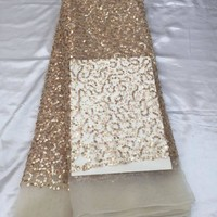 Gold and Black African Lace Fabric With Beads Sequins