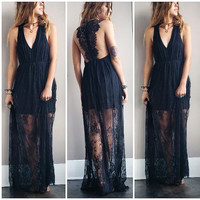 A Stunning Lace Maxi in Black