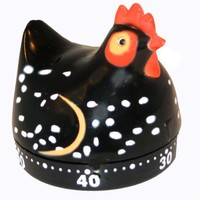 Kitchen Timer: Hen/Chicken Kitchen Timer - Black