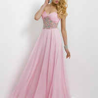 Ruched Sweetheart Beaded Waist Chiffon Blush Prom Dress 9795