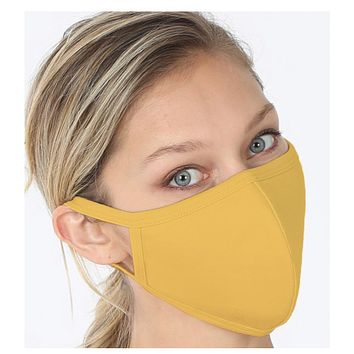 Keeping it in Style! Solid Mustard Face Mask with Filter Pocket