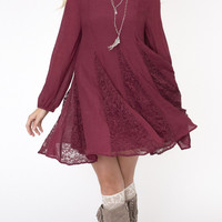 Boho Burgundy Baby Doll Dress