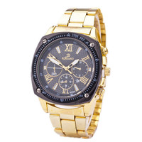 Fashion Mens Gold Steel Strap Watch Sports Casual Watches Best Christmas Gift