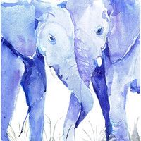 Two Elephants , watercolor, wildlife,   wall decor,  animal art, art print, nursery decor, valentine day gift, children art, Illustration