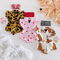 Baby Girl Clothes Summer Rompers Cute Newborn Baby Girl Kid Printed Leopard Short Sleeves Romper Outfit Clothes Romper 0-24M