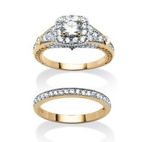 2.21 TCW Cubic Zirconia and Blue Crystal 2 Piece Bridal Ring Set in 18k Gold over Sterling Silver