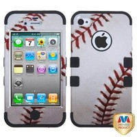 MYBAT Baseball-Sports Collection/Black TUFF Hybrid Phone Protector Cover for APPLE iPhone 4S/4
