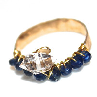 Sapphire Ring Herkimer Diamond Ring Herkimer Quartz Modern Ring Wedding Ring Gold Ring Handcrafted Ring Sapphire Jewelry Hammered Ring