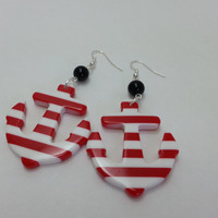 Red and White Anchor Earrings with Black Glass Beads - Rockabilly, Retro, Nautical, Sailor, Pin Up Girl