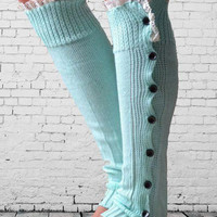 Cyan Buttoned Side Knitted Leg Warmers