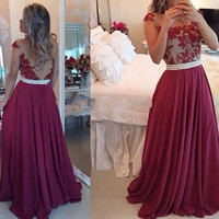Applique Wine Red Prom Dresses,Lace Tulle Long Prom Dress