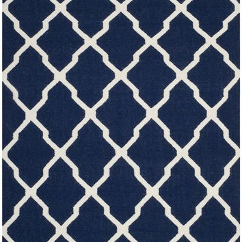 Dhurries Contemporary Indoor Area Rug Navy / Ivory