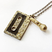 Listen Necklace Inspired By 13 Reasons Why: cassette tape and microphone charms