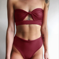 Summer new fashion knot strapless sexy two piece bikini swimsuit Red