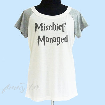 Mischief Manages tshirt cream grey women tshirt size S M L shirt **quote shirt **women tshirt **short raglan shirt