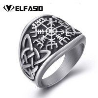 Men Stainless Steel Ring Viking Valknut Pirate Compass Text Symbol Vintage Jewelry Size 8 9 10 11 12 13