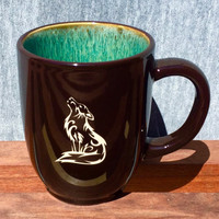 Colorful Coffee Mug with Howling Wolf Design, Deep Etched