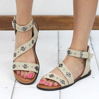 Minnetonka: Tangier Studded Leather Sandal {Stone}