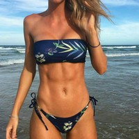 Sexy fashion background navy blue leaf print wrap chest strapless bottom side knot two piece bikini