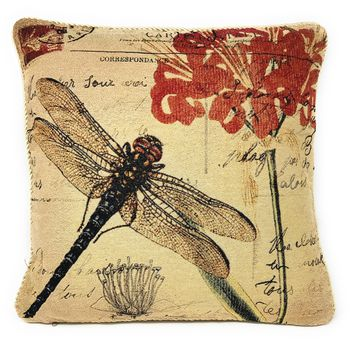 """DaDa Bedding Dragonfly Dreams Elegant Insect Bug Throw Pillow Cushion Cover - 1-Piece - 18"""""""