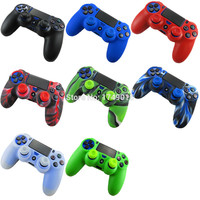 2 in 1 Soft Silicone Rubber Case Cover For Sony Play Station Dualshock 4 PS4 DS4 Pro Slim Wireless Controller Skin + 2 grips