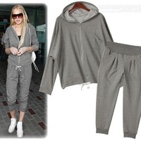 Loose Bat Sleeve Cardigan Sweater And Pants For Women