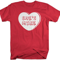She's Mine Matching Couple's T-Shirts Valentine's Day Heart Shirts Men's Unisex Cute Tees Couples