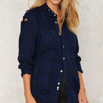 After Party by Nasty Gal Seeing Shred Flannel Top