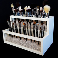 2 Tier Wood and Acrylic Makeup Brush Holder - Makeup Brush Holder - Makeup Organizer - Makeup Brush Organizer - Brush Organizer