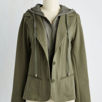 90s Mid-length Collaborative Combo Blazer in Olive