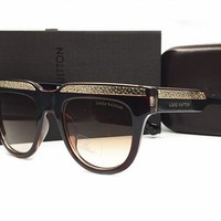 LV Mirrored Flat Lenses Street Fashion Metal Frame Women Sunglasses [2974244749]