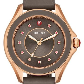 Women's MICHELE 'Cape' Topaz Dial Silicone Strap Watch, 40mm - Coco/ Rose Gold (Nordstrom Exclusive)