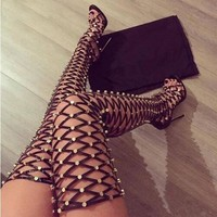 Rome Style Cut-Outs Thigh High Boots
