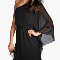 Half Shoulder Cape Sleeve High-Waisted Mini Dress
