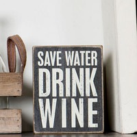 SAVE WATER DRINK WINE POLKA DOT SMALL PLAQUE