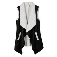 Open Front Faux Fur Suede Vest with Pockets (CLEARANCE)
