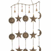 "Attractive Metal Glass Windchime 14""W 36""H"