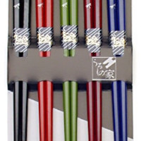 Dragonfly Japanese Chopstick Gift Set in Dark Colors, 5 Pairs