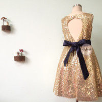 Light Gold Sequins Hole Back Flower Girl Dress With Detachable Navy Blue Sash/Organza Bow/Birthday/Baptism Dress/Flower Girl /Pageant Dress